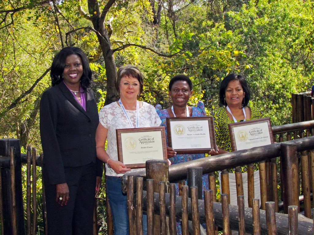 AWARDEES - receiving Certificates of Appreciation from Dr. Jacobs-Young for contributions to the ARS-FtF, Grain Legumes Project included L-R Dr. Deidre Fourie, Plant Pathologist, ARC, South Africa, Dr. Susan Nchimbi-Msolla, Plant Breeder and Geneticist, Sokoine University of Agriculture, Tanzania, and Dr. Consuelo Estevez de Jensen, Plant Pathologist, University of Puerto Rico.