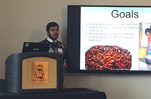 Diego Crespo an undergraduate assistant studying cooking time in dry beans in Karen Cichy's lab wins the grand prize for his research presentation at the Michigan State University Undergraduate Research and Arts Forum in April 2016.